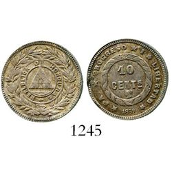 Honduras, 10 centavos, 1889, rare. KM-49. 2.2 grams. Well-struck and richly toned AU with small rim-