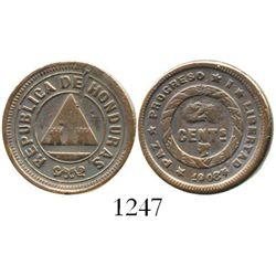 Honduras, bronze 2 centavos, 1908/7, rare. KM-64 for type. 3.7 grams. Unlisted overdate within a rar