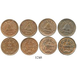Lot of 4 Honduras copper 2c (1910 x 2, one with medal alignment; 1913; and 1920). KM-69 and 71. 13.4