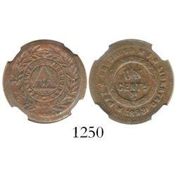 Honduras, copper 1 centavo, 1893, encapsulated NGC UNC details / environmental damage, ex-Dana Rober