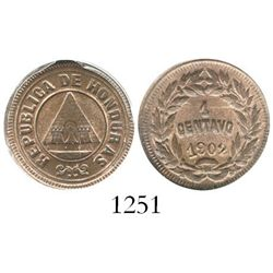Honduras, copper 1 centavo, 1902, encapsulated ANACS MS 64 RB, ex-Dana Roberts collection. KM-46.  O