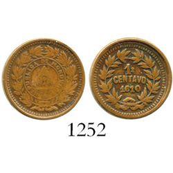 "Honduras, copper 1 centavo, ""1610"" date (1910), denomination as 1 over 1/2, ex-Americas collection."