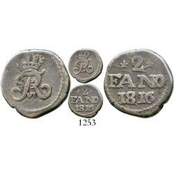 India (Danish), Tranquebar, 2 fano (2 royaliner / 2 fanams), Frederik VI, 1816, rare two-year type.