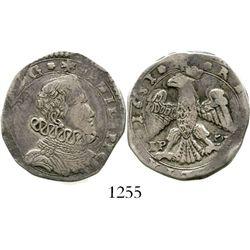 Naples, Italy (under Spain), Messina, 4 tari, Philip IV, 1651. Spahr-14ff. 10.1 grams. Lightly toned
