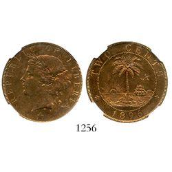 Liberia (struck in England), bronze 2 cents, 1896-H (Heaton), encapsulated NGC MS 64 RB, ex-Eliasber