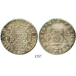 Mexico City, Mexico, pillar 8 reales, Philip V, 1738MF. KM-103; CT-783. 26.9 grams. Slightly off-cen