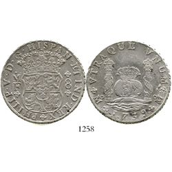 Mexico City, Mexico, pillar 8 reales, Philip V, 1739MF. KM-103; CT-787. 26.7 grams. Lightly cleaned