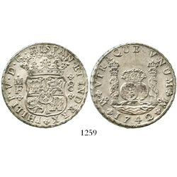 Mexico City, Mexico, pillar 8 reales, Philip V, 1742/1MF. KM-103; CT-792. 26.9 grams. Bold AU with l
