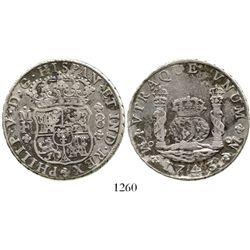 Mexico City, Mexico, pillar 8 reales, Philip V, 1743MF. KM-103; CT-795. 26.7 grams. VF+ with patchy