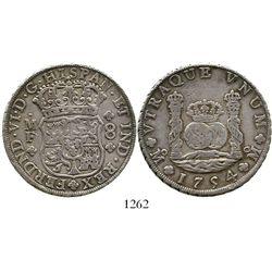 Mexico City, Mexico, pillar 8 reales, Ferdinand VI, 1754MF. KM-104.1; CT-333. 26.9 grams. Attractive