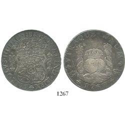 Mexico City, Mexico, pillar 8 reales, Charles III, 1767MF, encapsulated ICG EF40 details / cleaned.