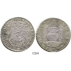 Mexico City, Mexico, pillar 8 reales, Charles III, 1768/7MF, rare overdate. KM-105; CT-907. 26.8 gra
