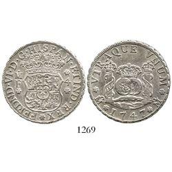 Mexico City, Mexico, pillar 4 reales, Ferdinand VI, 1747MF, E/R error. KM-95; CT-417. 13.4 grams. Ra
