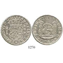 Mexico City, Mexico, pillar 4 reales, Ferdinand VI, 1752MF. KM-95; CT-423. 13.4 grams. Bold XF, no t