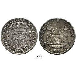 Mexico City, Mexico, pillar 4 reales, Ferdinand VI, 1752MF. KM-95; CT-423. 13.4 grams. Deeply rainbo