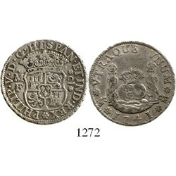 Mexico City, Mexico, pillar 2 reales, Philip V, 1741MF. KM-84; CT-1291. 6.7 grams. AXF with muted lu