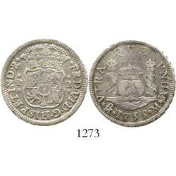 Mexico City, Mexico, pillar 2 reales, Ferdinand VI, 1755M. KM-86.1; CT-495. 6.5 grams. Bold rims, li
