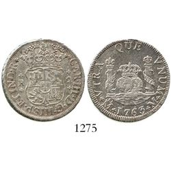 Mexico City, Mexico, pillar 2 reales, Charles III, 1763M. KM-87; CT-1328. 6.7 grams. Lustrous XF wit