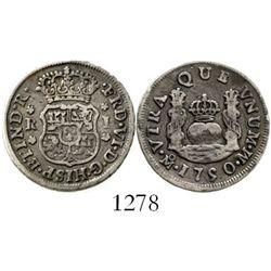 Mexico City, Mexico, pillar 1 real, Ferdinand VI, 1750M. KM-76.1; CT-575. 3.2 grams. Deeply toned VF