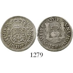 Mexico City, Mexico, pillar 1 real, Charles III, 1765M. KM-77; CT-1545. 3.2 grams. Lightly toned AXF