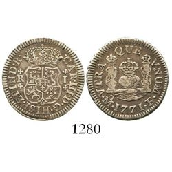 Mexico City, Mexico, pillar 1 real, Charles III, 1771F. KM-77; CT-1552. 3.3 grams. Broad-flan XF wit