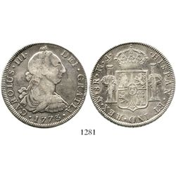 Mexico City, Mexico, bust 8 reales, Charles III, 1773FM, initials facing rim. KM-106.1; CT-917. 26.6