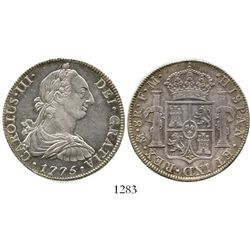 Mexico City, Mexico, bust 8 reales, Charles III, 1775FM. KM-106.2; CT-920. 26.9 grams. Lustrous AU w