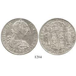 Mexico City, Mexico, bust 8 reales, Charles III, 1775FM. KM-106.2; CT-920. 26.9 grams. Prooflike AU,
