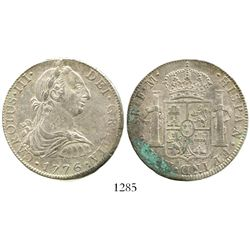 Mexico City, Mexico, bust 8 reales, Charles III, 1776FM. KM-106.2; CT-921. 27.0 grams. Lustrous UNC