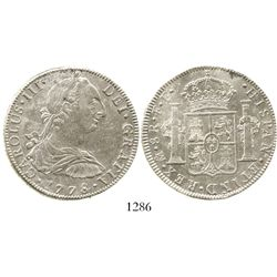 Mexico City, Mexico, bust 8 reales, Charles III, 1778FF. KM-106.2; CT-926. 26.9 grams. Lustrous AU w