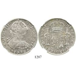 Mexico City, Mexico, bust 8 reales, Charles III, 1779FF, encapsulated NGC AU 58. KM-106.2; CT-929.