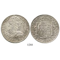 Mexico City, Mexico, bust 8 reales, Charles III, 1780FF. KM-106.2; CT-930. 26.3 grams AXF with tiny