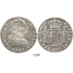 Mexico City, Mexico, bust 8 reales, Charles III, 1781FF. KM-106.2; CT-931. 27.0 grams. Highly lustro