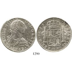 Mexico City, Mexico, bust 8 reales, Charles III, 1782FF. KM-106.2; CT-932. 26.9 grams. AU with much