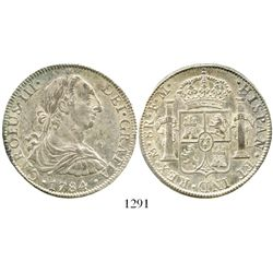 Mexico City, Mexico, bust 8 reales, Charles III, 1784FM. KM-106.2; CT-936. 26.9 grams. Lustrous Mint