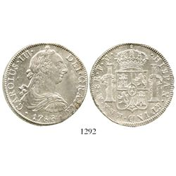 Mexico City, Mexico, bust 8 reales, Charles III, 1786FM. KM-106.2a; CT-939. 26.9 grams. Lustrous AU