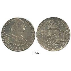 Mexico City, Mexico, bust 8 reales, Charles IV, 1792FM. KM-109; CT-685. 26.9 grams. Lustrous AU-, no