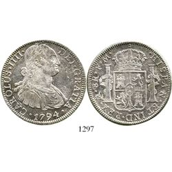 Mexico City, Mexico, bust 8 reales, Charles IV, 1794FM. KM-109; CT-687. 27.0 grams. Very attractive