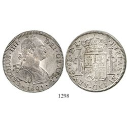 Mexico City, Mexico, bust 8 reales, Charles IV, 1801FT. KM-109; CT-unlisted. 26.9 grams. Deeply tone