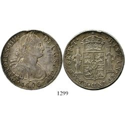 Mexico City, Mexico, bust 8 reales, Charles IV, 1803FT. KM-109; CT-699. 27.0 grams. Attractively rai