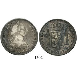 Mexico City, Mexico, bust 4 reales, Charles IV transitional (bust of Charles III, ordinal IV), 1789F