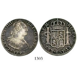Mexico City, Mexico, bust 4 reales, Charles IV, 1798/7FM. KM-100; CT-unlisted. 13.3 grams. Deeply to