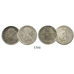 Lot of 2 Mexico City, Mexico, bust 1R, Charles IV transitionals, 1789 and 1790FM, BOTH plate coins i