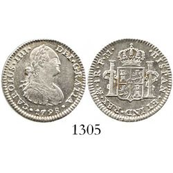 Mexico City, Mexico, bust 1 real, Charles IV, 1798FM. KM-81; CT-1144. 3.4 grams. Lustrous XF/AU with