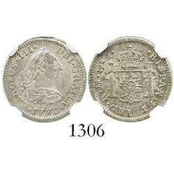 Mexico City, Mexico, bust 1/2 real, Charles III, 1772FM, initials facing rim, encapsulated NGC MS-62