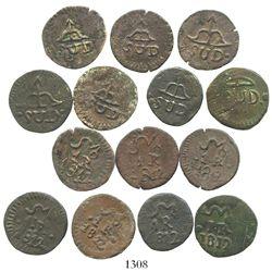 Lot of 7 Oaxaca (SUD/Morelos), Mexico, copper 1R, 1812, all different dies. CT-1186. 17.3 grams tota