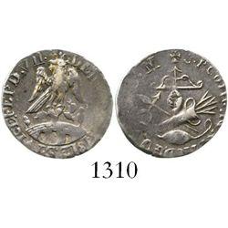 Tlalpujahua, Mexico, 1/2 real (struck in silver), Ferdinand VII, 1812, inward-facing date. CT-1404;