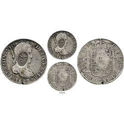 "Mexico, oval ""YRNO""(?) countermark on a Potosi, Bolivia, bust 8 reales, Ferdinand VII, 1823PJ. Simil"