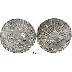 San Luis Potosi, Mexico, cap-and-rays 8 reales, 1855MC. KM-377.12. 26.9 grams. Lustrous XF with fain
