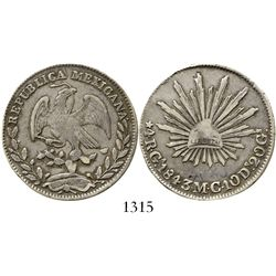 Guadalajara, Mexico, cap-and-rays 4 reales, 1843MC. KM-375.2. 13.3 grams. Decent VF with attractive